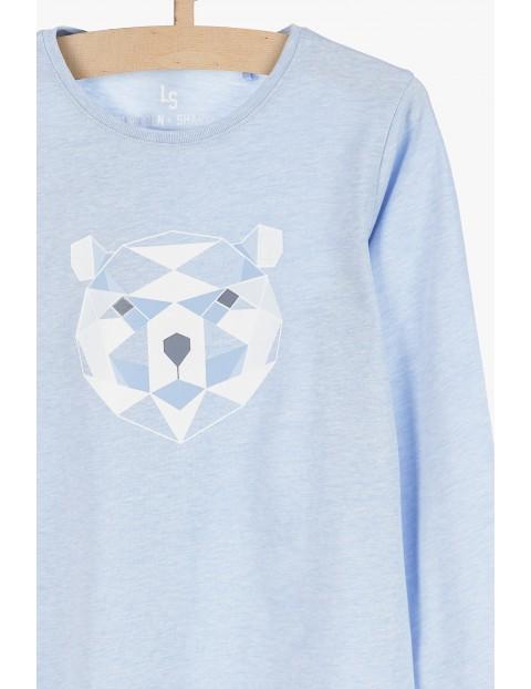 Niebieska bluzka z długim rękawem- Miś