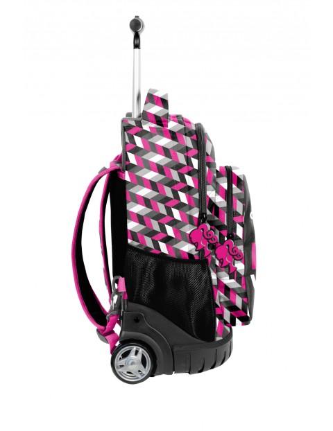 Plecak na kółkach PASO czarno-różowy