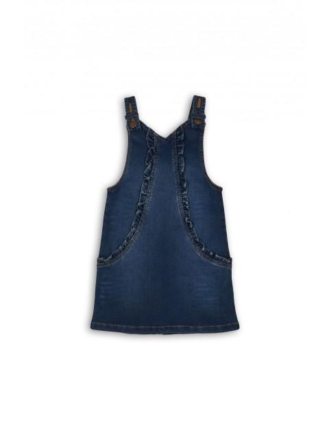 Sukienka jeansowa z ozdobną falbanką- niebieska