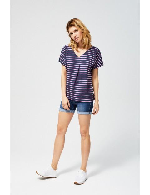 T-shirt damski bawełniany w paski