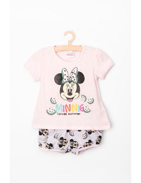 Komplet niemowlęcy t-shirt i spodenki Myszka Minnie, różowo-szary