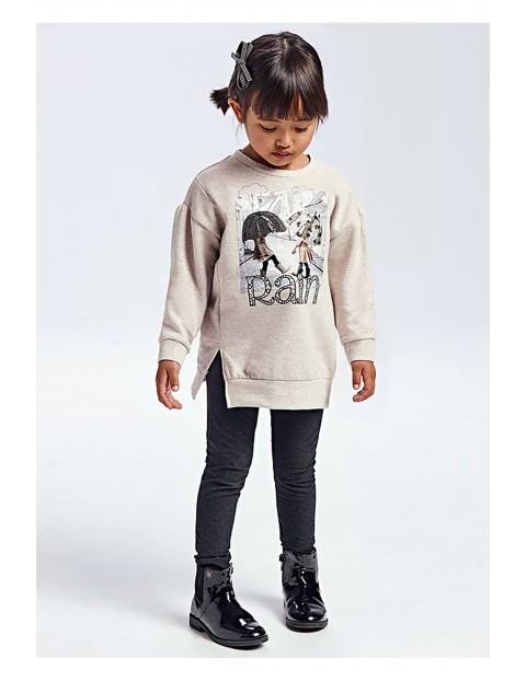 Komplet dziewczęcy -szara  bluza z nadrukiem i czarne leginsy