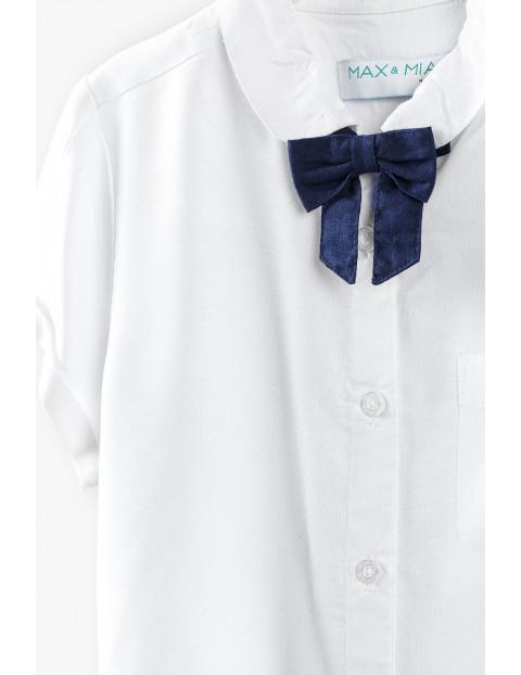 Biała koszula z krótkim rękawem i ozdobną kokardką dla dziewczynki
