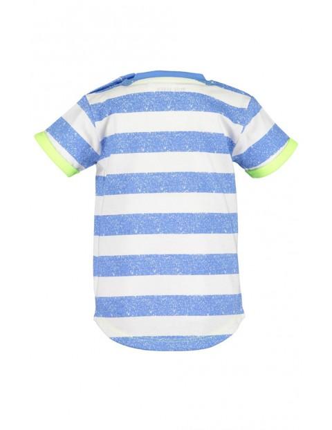 Koszulka chłopięca niebiesko-białe paski z hipopotamem i rybką