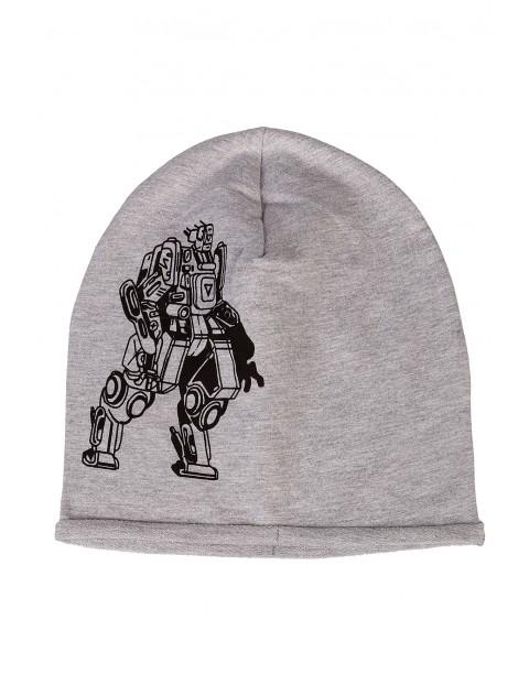 Czapka dzianinowa dla chłopca-szara z robotem