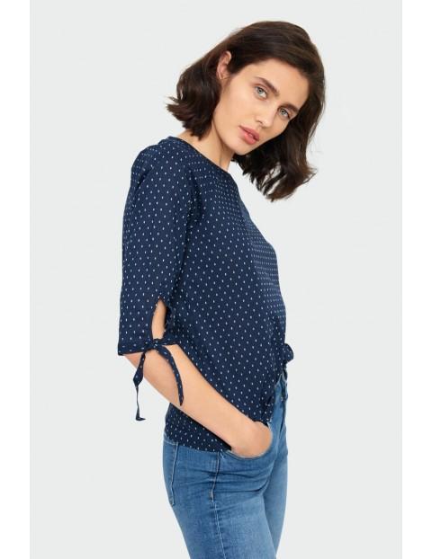 Bawełniana granatowa  bluzka damska  z okrągłym dekoltem z wiązaniem przy rękawie