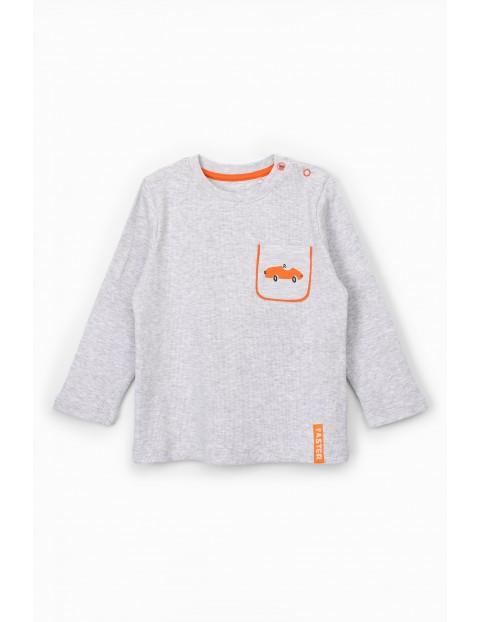 Szara bluzka niemowlęca z samochodzikiem