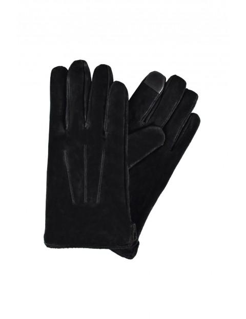 Rękawiczki męskie skórzane antybakteryjne - czarne