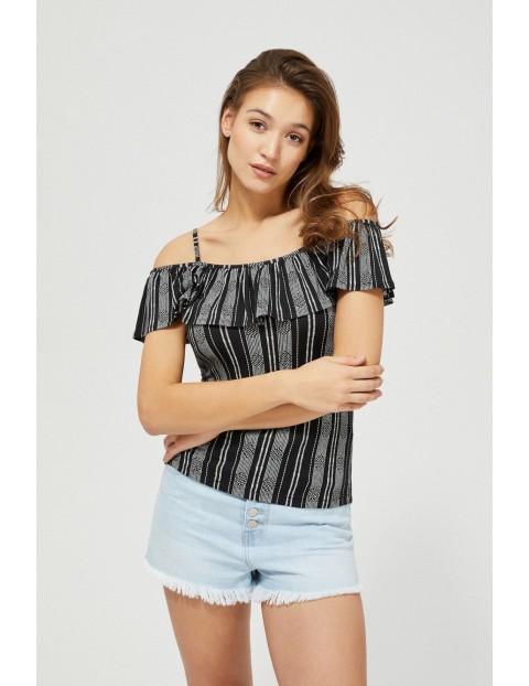 Bluzka typu hiszpanka na cienkich ramiączkach czarna