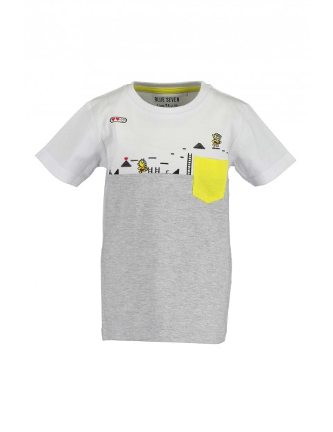 T-Shirt chłopięcy biało-szary