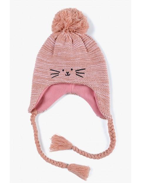 Czapka zimowa dla dziewczynki - Kotek