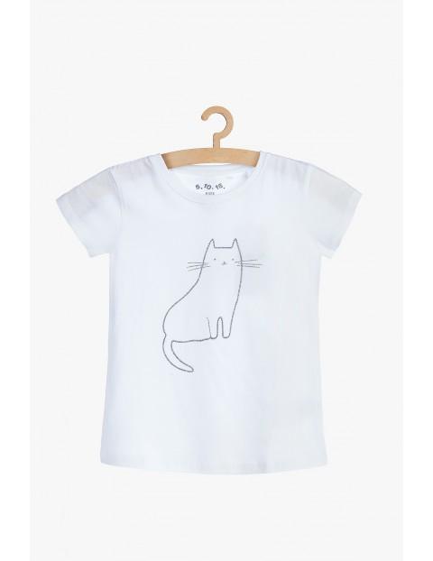 Bawełniany t-shirt dziewczęcy z kotem