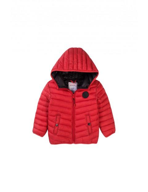 Kurtka niemowlęca pikowana czerwona z kapturem
