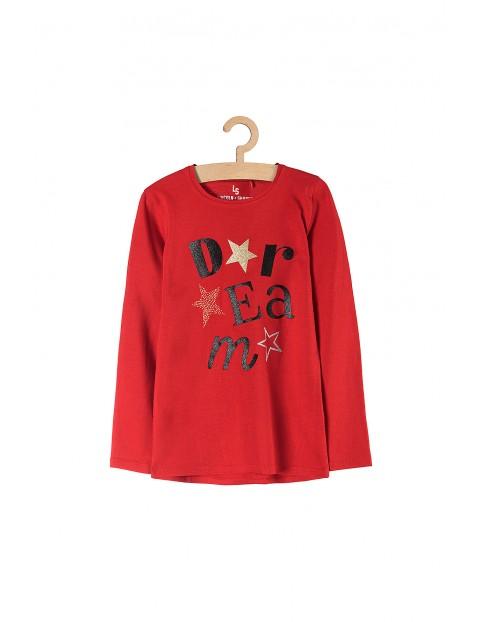 Bluzka dziewczęca czerwona z nadrukami z przodu