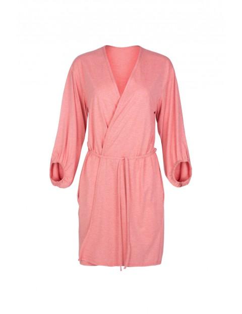 Szlafrok damski w kolorze różowym - 3/4 rękaw Italian Fashion