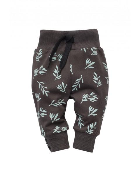 Spodnie dresowe- szare w liście
