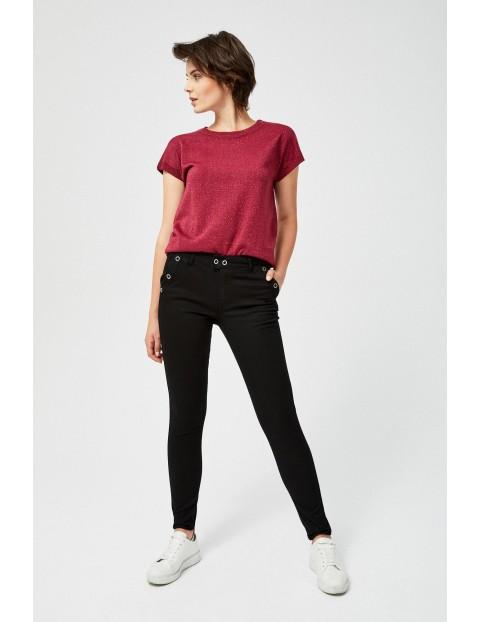 Czarne spodnie damskie z dźetami