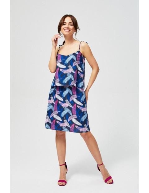 Sukienka damska z nadrukiem w kolorowe piórka