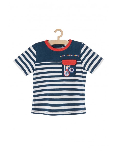 T-shirt chłopięcy w paski z ozobną kieszonką- morskie wzory