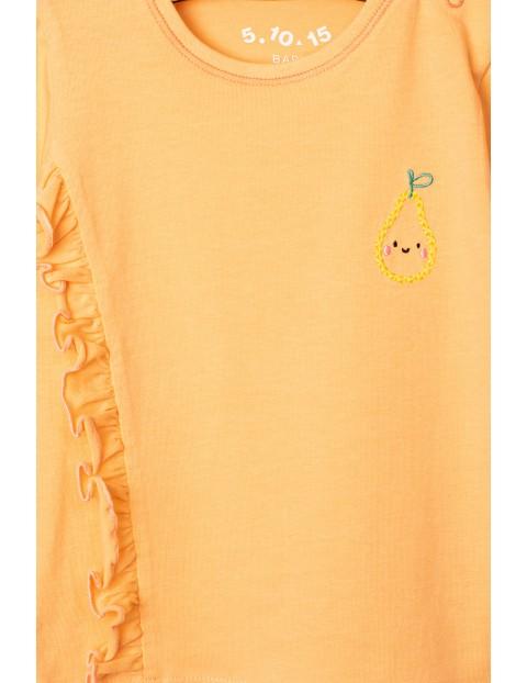 Bluzka dziewczęca pomarańczowa z falbanką