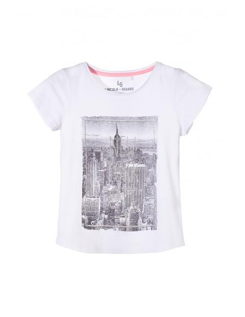 Koszulka dziewczęca z czarno białym nadrukiem