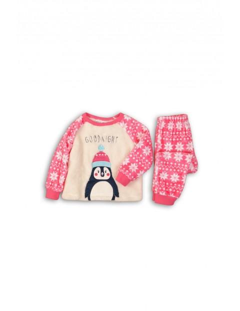 Pidżama dziewczęca kremowo-różowa Pingwin