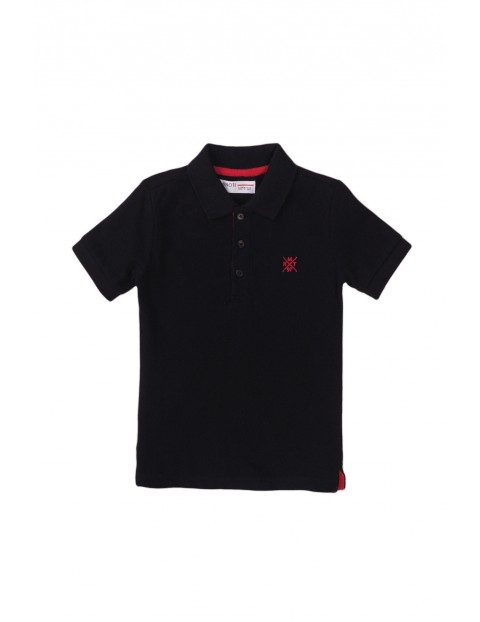 Bawełniany T-shirt niemowlęcy z kołnierzykiem- czarny