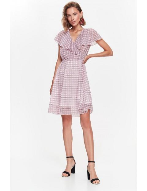 Różowa zwiewna sukienka damska w kratkę
