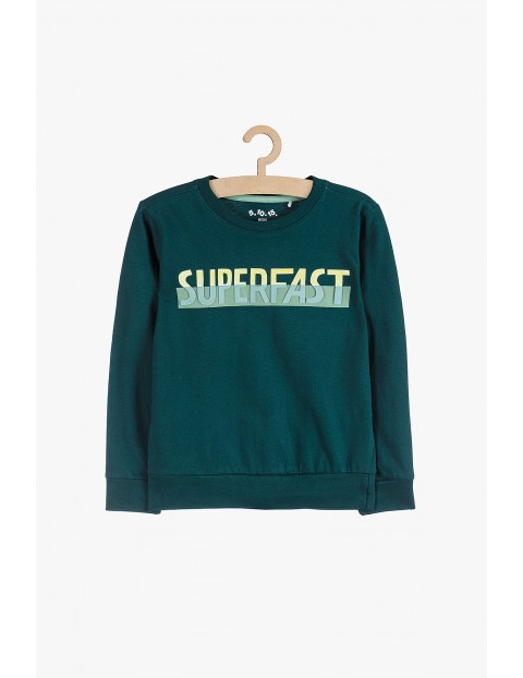 Bluza dresowa dla chłopca- zielona z napisem z przodu