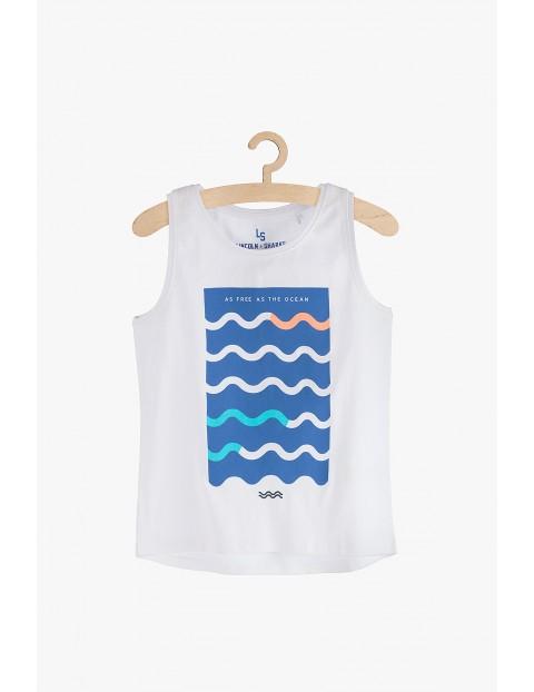 """Bluzka dziewczęca biała na ramiączka  """"As free as the ocean"""""""