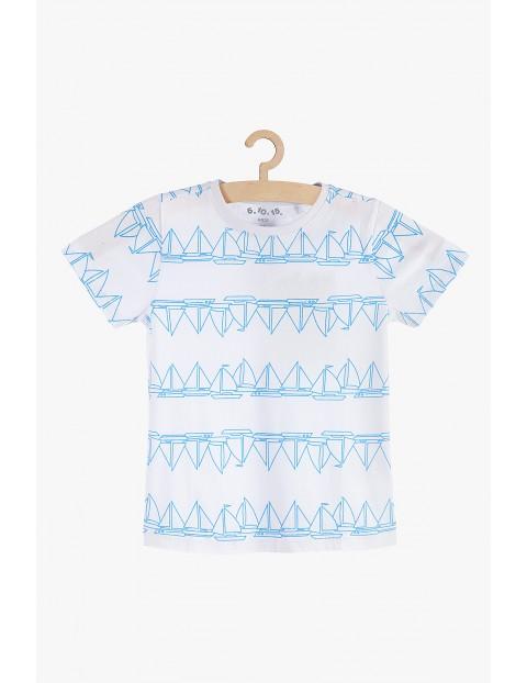 T-shirt chłopięcy bawełniany w żaglówki