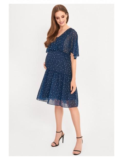 Sukienka ciążowa in dla karmiącej mamy- niebieska we kropeczki