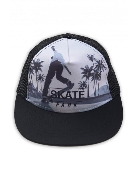 Czapka z daszkiem Skate Park biało-czarna