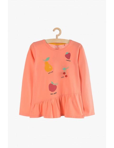 Bluzka dziewczęca bawełniana, pomarańczowa -Owoce