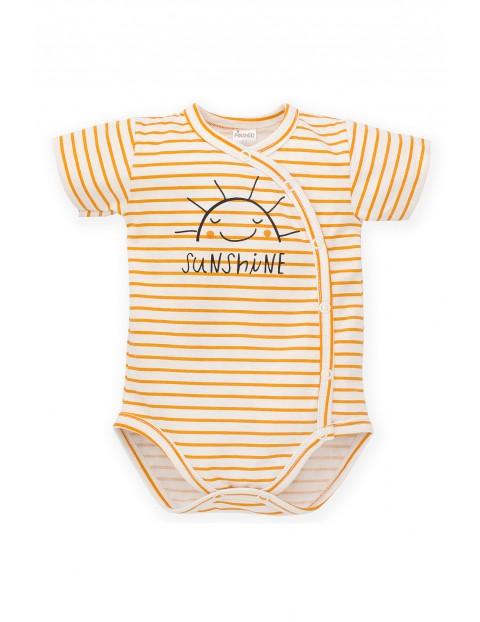 Body niemowlęce w żółte paski - kopertowe zapięcie