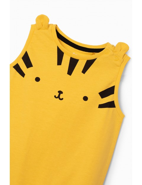 Rampers niemowlęcy żółty z tygryskiem