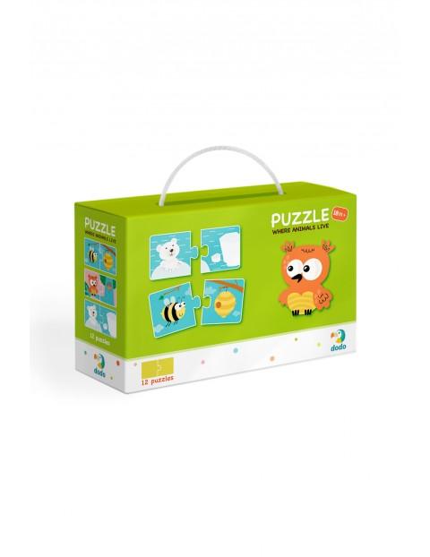 Puzzle Duo Gdzie Żyją Zwierzęta - 12 el 18msc+