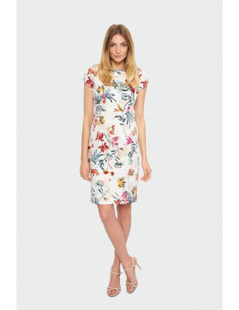 Sukienka ołówkowa w kwiatki z odcięciem w tali