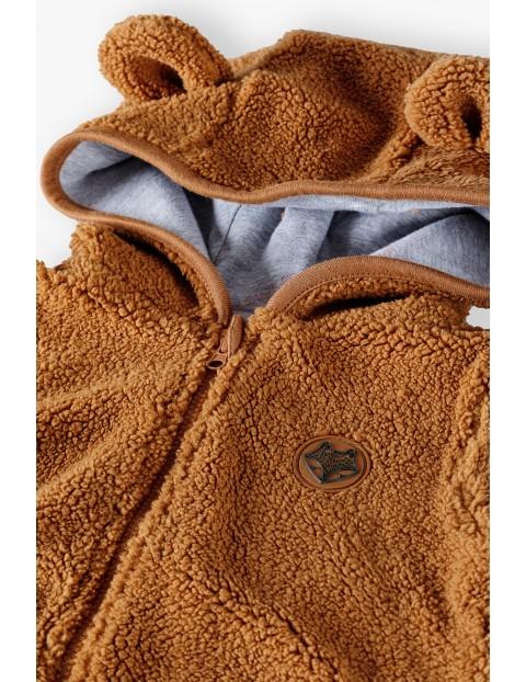 Bluza niemowlęca z uszkami na kapturze - brązowa