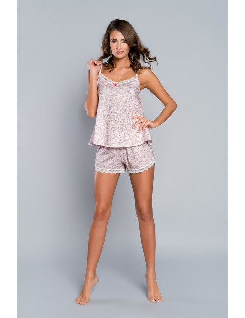 Piżama damska w kwiatki - koszulka na cienkie ramiączka i krótkie spodenki