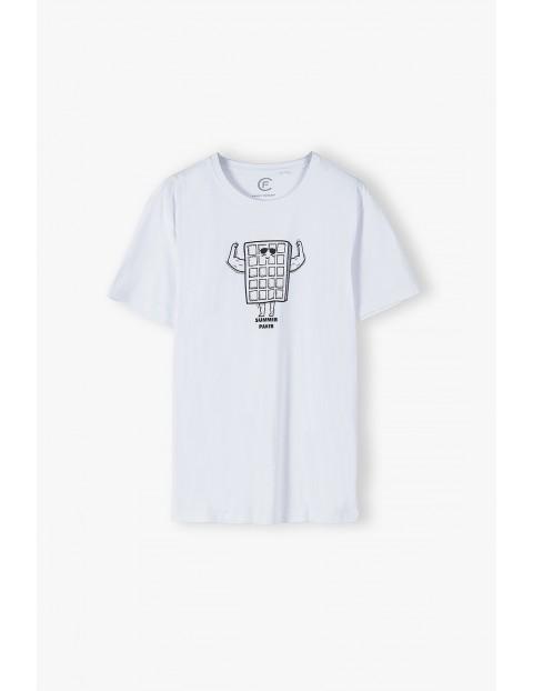 Bawełniany biały t-shirt męski - krótki rękaw Summer Paker- ubrania dla całej rodziny