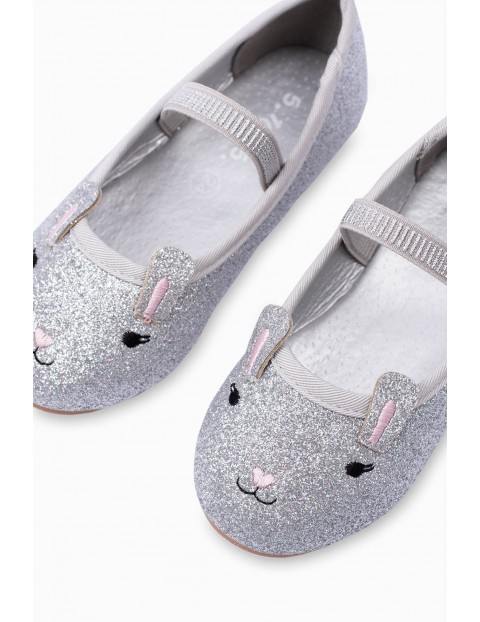 Balerinki dziecięce króliczki  - srebrne