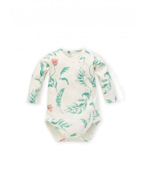 Body niemowlęce kopertowe z długim rękawem -rośliny