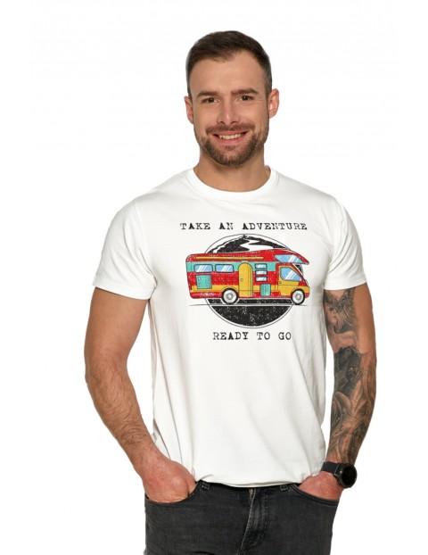 Biały T-shirt męski z kolorowym nadrukiem