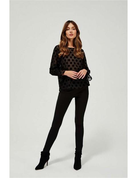 Bluzka damska czarna w grochy- długi rękaw