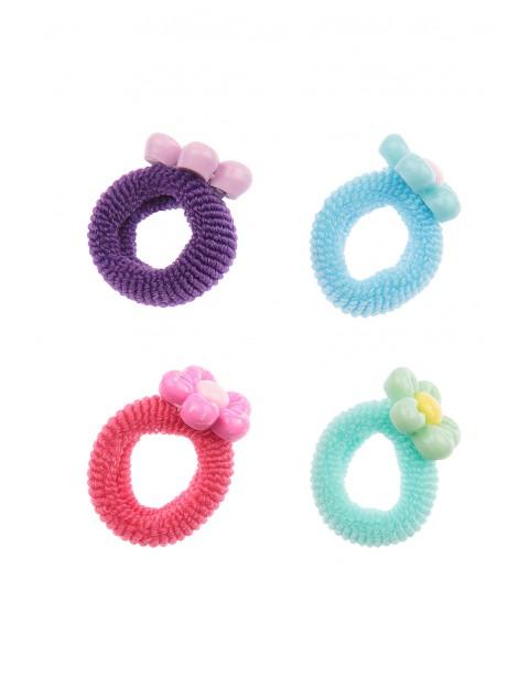 Kolorowe gumki do włosów- kwiatki