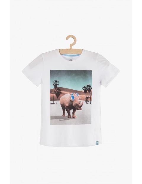 T-shirt biały z nadrukiem