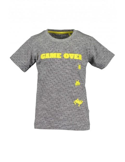 T-Shirt chłopięcy szary z nadrukiem Game Over