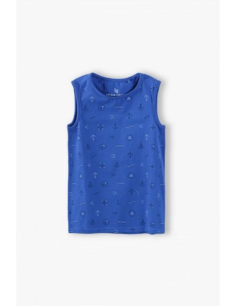 T-shirt chłopięcy w kolorze niebieskim w marynarskie wzory