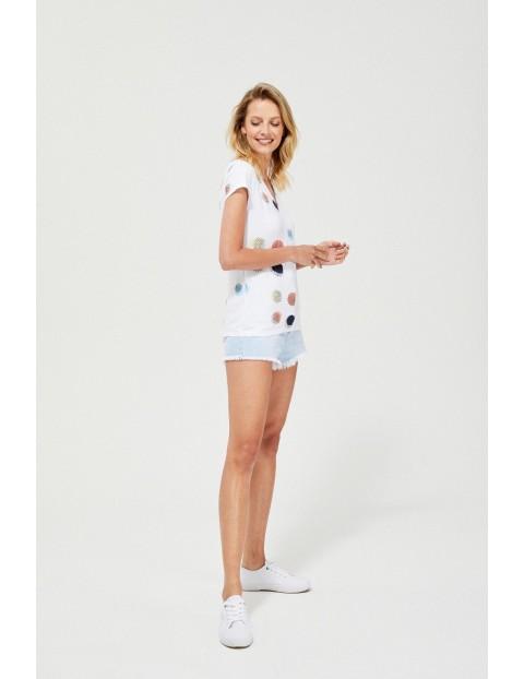 Bawełniany t-shirt z nadrukiem- biały w serek